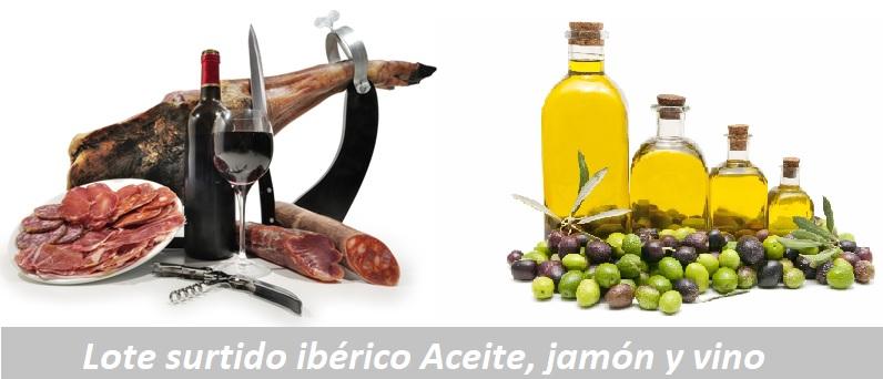 lote iberico aceite jamon y vino